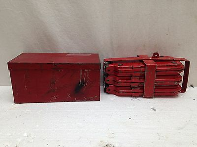 Vintage Roadside Red Flares Reflectors Lot of 2 With Metal Box/Rack