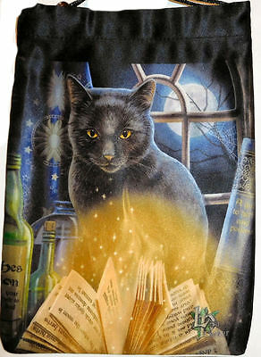 Silk Bewitched Tarot Bag w/ Black Cat and Book of Shadows by Lisa Parker