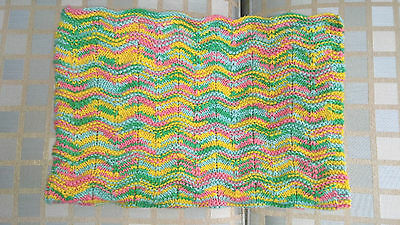 Wavy Hand-Knit Baby Crib Blanket Yellow Blue Pink Green NEW Super-Soft Cotton