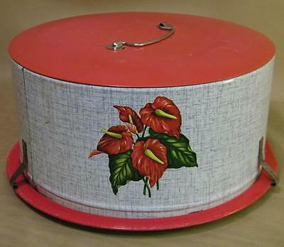 Vintage 1950's Shabby Chic Decoware Red Anthurium Cake Tin Carrier Saver Plate