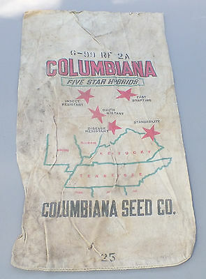 Vintage Columbiana Seed Co.Funk's G Hybred Bloomington Ill. 5 Star 2 Sided Sack