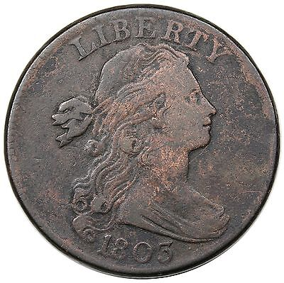1803 Draped Bust Large Cent, Small Date & Fraction, S-250, R.3, VF detail