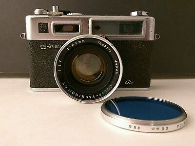 Vintage Camera Yashica Electro 35 GS Rangefinder with Mounted Lens