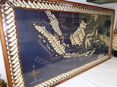 Vtg Framed Fabric Map Ocean Globe Pacific Sea Wall Art Mcm Tiki Modern Decor