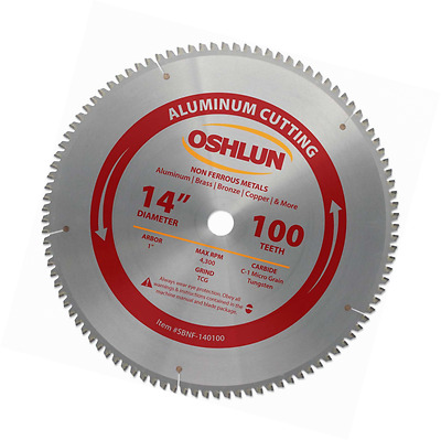 Oshlun SBNF-140100 14-Inch 100 Tooth TCG Saw Blade with 1-Inch Arbor for Aluminu