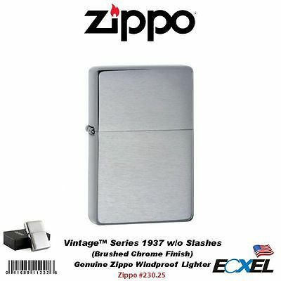 Zippo #230.25 Vintage Series 1937 Lighter, without Slashes, Br Chrome, Windproof