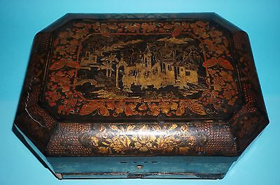 Fine Antique Rare  Chinese Black/gold Lacquer  Sewing Box