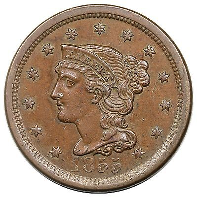 1855 Braided Hair Large Cent, Upright 5's, N-7, nice AU