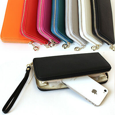 New Women Zipper Long Wallet Clutch Wristlet Card Coin Holder Purse Faux Leather
