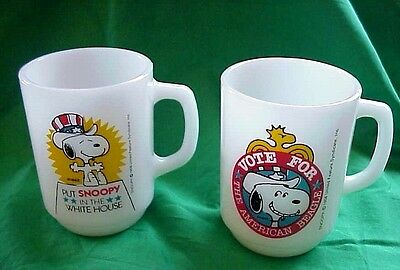 LOT of 2 1980 SNOOPY Presidential FIRE KING mugs # 2 & # 3