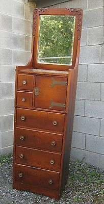 Victorian Oak Lingerie Chest With Mirror