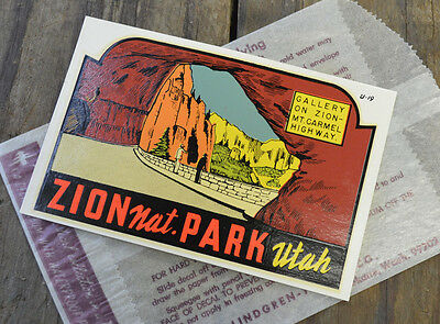 Original Vintage Travel Decal Zion National Park Utah Mt Highway Old Rv Window
