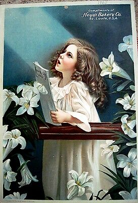 "Gorgeous Vintage Easter Print of Child Singing ""Nearer My God To Thee""- Lilies*"
