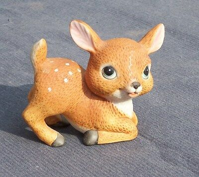 "Vintage Ceramic SPOTTED DEER FAWN 3"" FIGURINE. HOMCO. CUTE!"