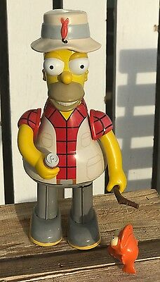 The Simpsons Homer Fisherman with orange shirt and fish Tin wind up Toy