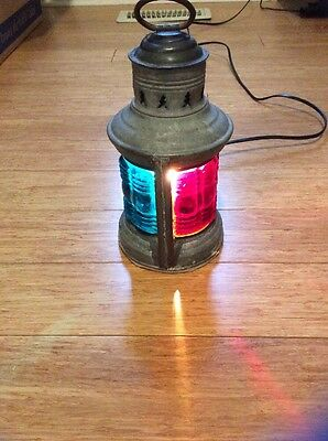 Antique, 1913, Maritime,port & Starboard, Blue,red Glass,nautical Lantern
