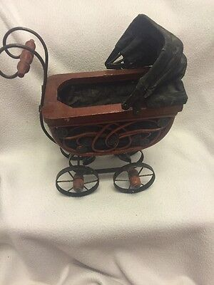 Vintage Miniature Ornate Baby Doll Carriage, Wood & Metal Wheels Decoration