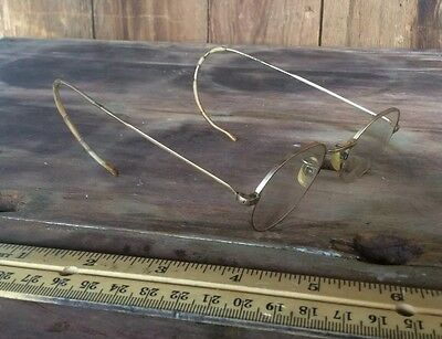 Vintage 12k Gold Plated Spectacles , Duo Glass Lenses, Wire Frame , Case