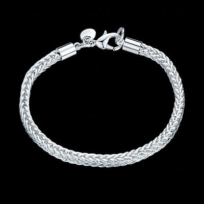 "8"" Mens Womens 925 Sterling Silver 4mm Franco Cuban Link Chain Bracelet #B296"