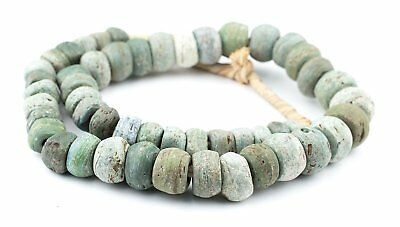 Antique Green Hebron Kano Beads Natural 18mm West Africa African Cylinder Glass
