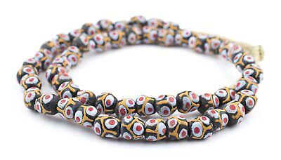 Lava Spot Round Krobo Beads 12mm Ghana African Multicolor Glass Large Hole