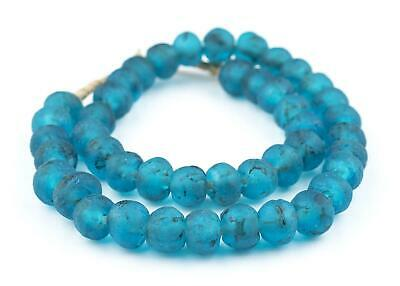 African Turquoise Recycled Glass Beads (14mm) Ghana