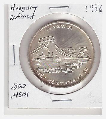 1956 Hungary 20 Forint Silver Foreign Coin, KM 553