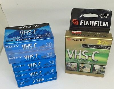 Sony & Fujifilm VHS-C Camcorder VIDEO TAPE Blank Cassettes - Lot of 7