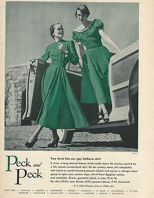 1940s Vintage Peck and Peck Green PEASANT BLOUSE and SKIRT Advertisement AD
