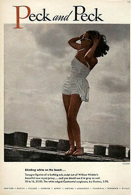 1940s Vintage Peck and Peck BOMBSHELL PINUP  White Bathing Suit Advertisement AD