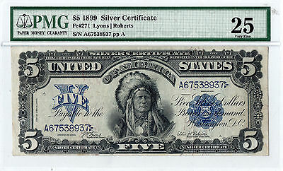 """1899 $5 Silver Certificate """"Indian Chief Onepapa"""" FR-271 PMG-25"""