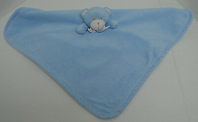 Blankets & Beyond Blue White Teddy Bear Baby Security Blanket Lovey 19x19