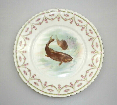 Antique Bavarian Decorative Fish Plate Hand Painted