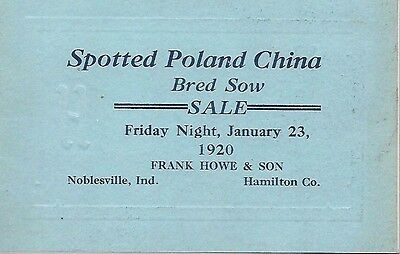 Spotted Poland China Sale Catalog Frank Howe & Son Noblesville Indiana 1920