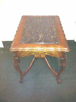 Vintage Hand Carved Side Table With Marble Top Insert