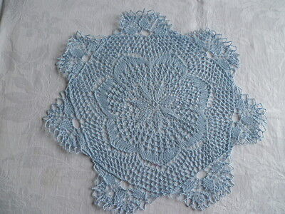 VINTAGE RETRO PALE BLUE HAND KNITTED LARGE DOILEY 35 cms across