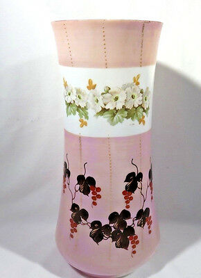 Antique Hand Painted Victorian Pink Opaline Glass Vase