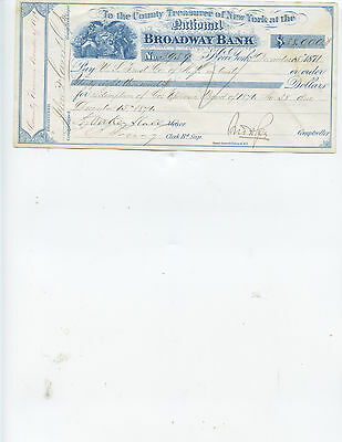 """1871 New York City Mayor """"a. Oakey Hall"""" Signed Check (A Great Historical Item)"""