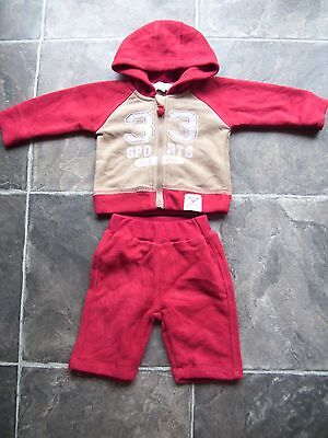 BNWNT Baby Boy's Pumpkin Patch Red & Beige Hoodie/Hooded Tracksuit Size 000