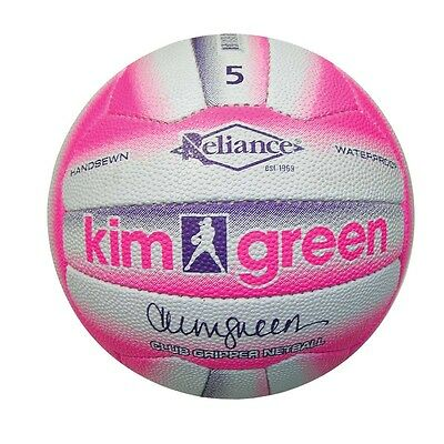 Reliance Kim Green CLUB NETBALL Hand-Sewn WHITE/PINK *Aust Brand - Size 4 Or 5