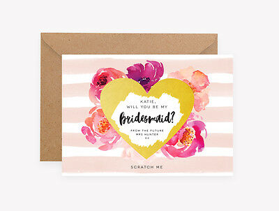 Will you be my Bridesmaid Maid of Honour Flower Girl Scratch It Off Card Floral