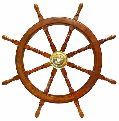 "Indian Roosewood Boat Ship 36"" XL NAUTICAL Wheel Wood Boat Wall Hanging Decor"
