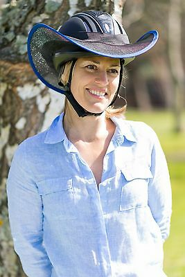 "Helmet  Brim Shade Visor  For  Horse Riding  ""new ""  Black With Royal Blue"
