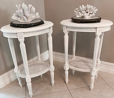 Vintage Antique Petite French Cane Nightstands Tables