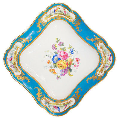 Sevres dish with Bleu Celeste ground, birds, by Randall, 1780 & later