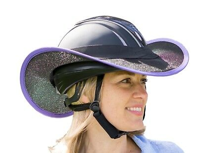 "Helmet  Brim Shade For  Horse Riding  ""new ""  Black With Violet"