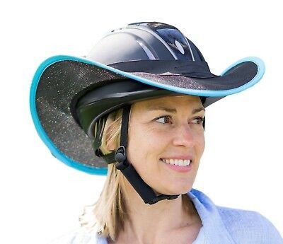 """new "" Western Horse Riding Helmet Shade Brim Only In Black With Light Blue"