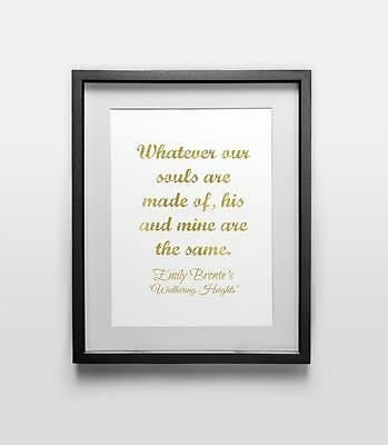 Wuthering Heights calligraphy art print, wall art quote print, faux gold