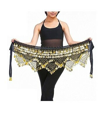 Belly Dance Hip Scarf Coin Skirt Yellow Gold Egyptian Dancing Wrap Belt Triangle