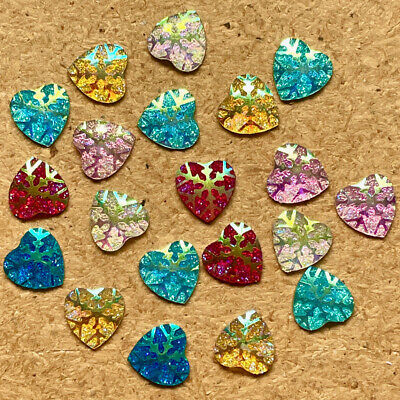 20pcs Resin Snowflake Pearlescent Heart FlatBack Appliques Christmas #378